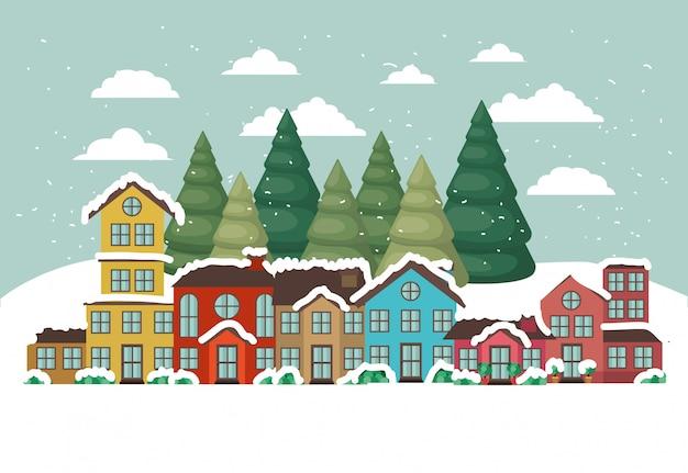 Città urbana nella scena di snowscape