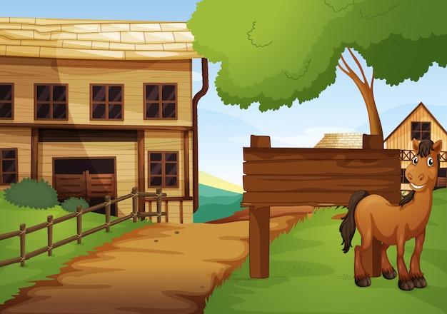 Città vecchia occidentale con cavallo lungo la strada
