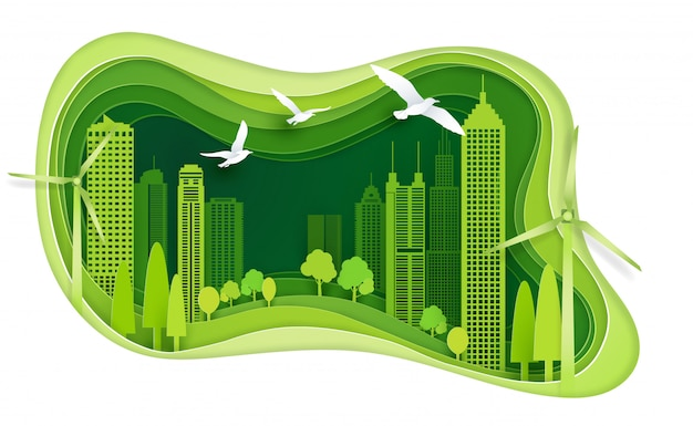 Città verde con edificio ed ecologia idea