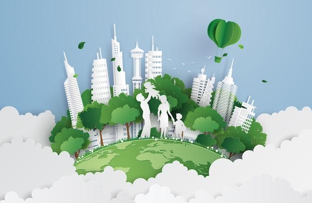Città verde con famiglia