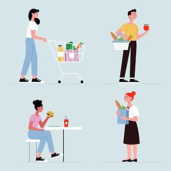 Cittadini con cibo illustrato