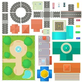 City map constructor impostato in stile cartone animato