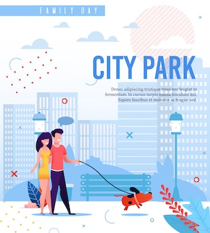 City park walk in family day. modello di testo