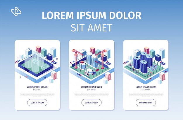City real estate investment project sito web di vettore