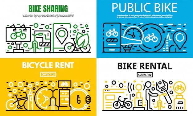 City rent a bike banner set, outline style