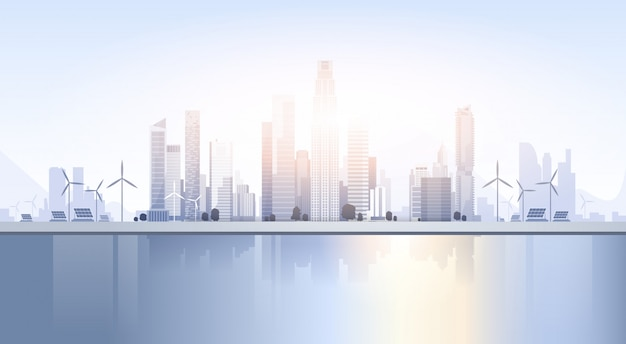 City skyscraper view cityscape background skyline silhouette con spazio di copia