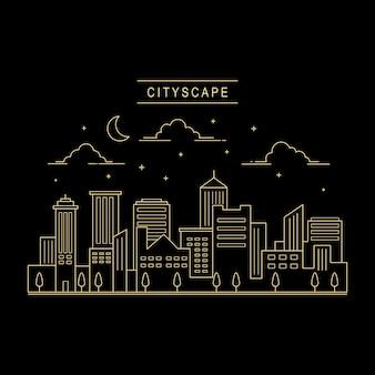 Cityscape design vettoriale linea arte stile