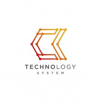 Ck iniziale logo design modello illustrazione
