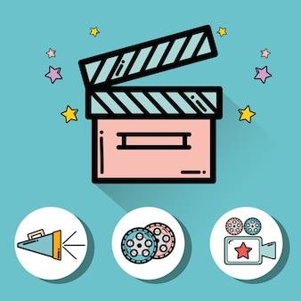 Clapper board con video filmstrip, videocamera e clacson