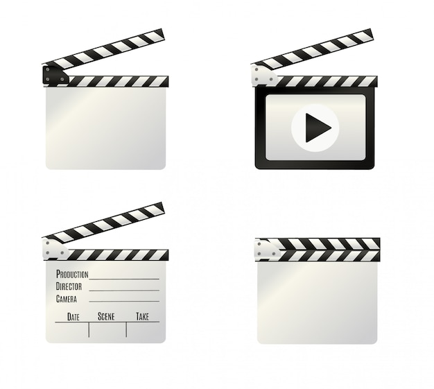 Clapper.cinema realistico. bordo su un background.film.time bianco. illustrazione.
