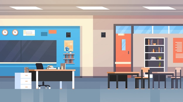 Class room interior school classroom con board e desk nessuno