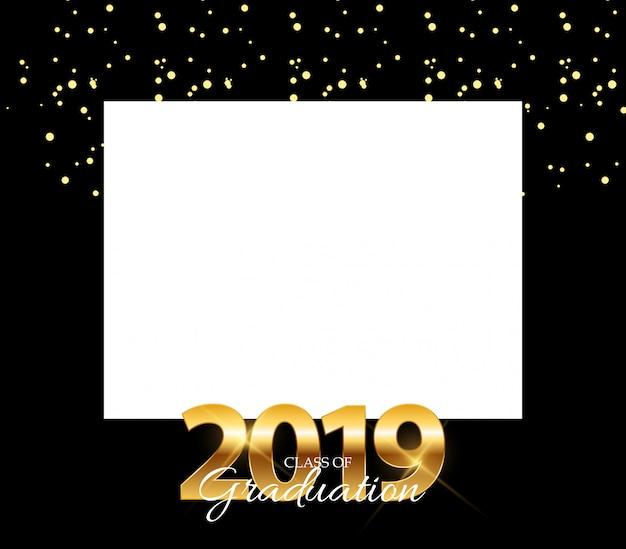 Classe di 2019 graduarion design elements cornice vuota con sfondo di istruzione.