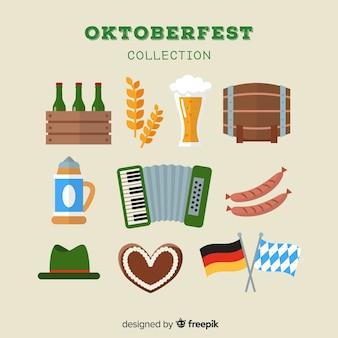 Classica collezione di elementi oktoberfest con design piatto