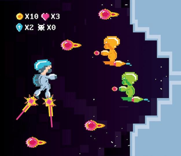 Classica scena di videogioco con combattimenti di guerrieri