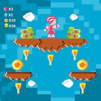 Classica scena di videogioco con guerriero