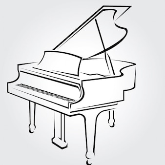 Classical piano drawn