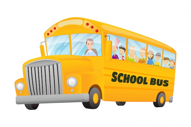 Classico americano vecchio scuolabus. bambini in sella a uno scuolabus. viaggio gratuito. banner di scuola di colore