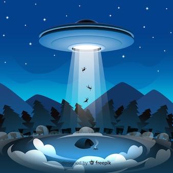 Classico concetto di abduction ufo con design piatto