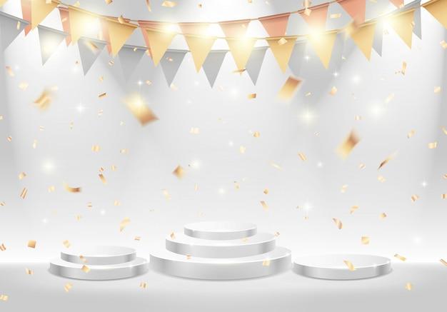 Classifica podio bianco sul palco con riflettori