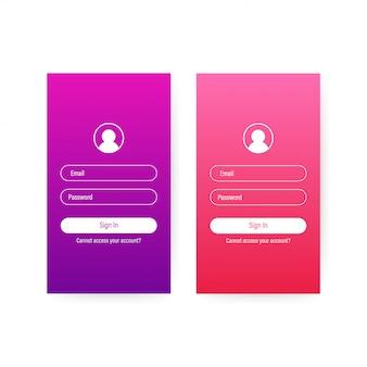 Clean mobile ui design concept. login application with password form window. illustrazione di riserva di vettore