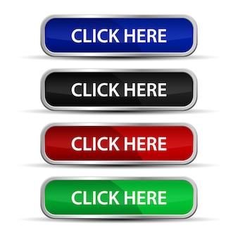 Clicca qui i pulsanti web con telaio metallico isolato su sfondo bianco