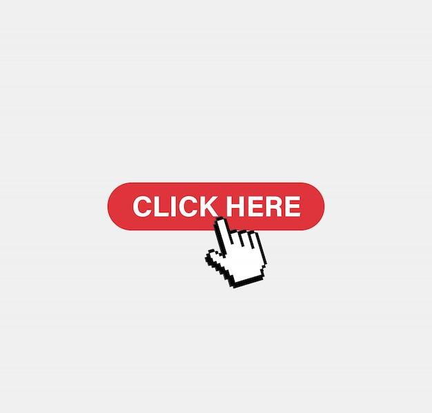 Clicca qui pulsante. cursore pixel
