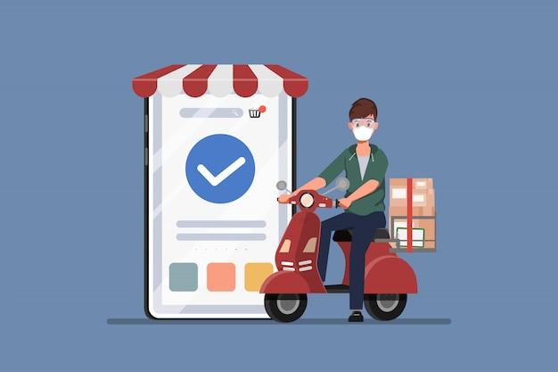 Cliente che acquista online durante covid-19. stare a casa evita di diffondere il coronavirus. nuovo stile di vita normale per lo shopping.