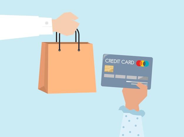 Cliente che paga dall'illustrazione della carta di credito