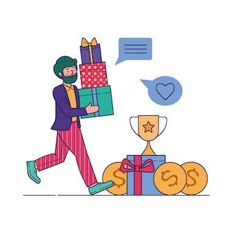 Cliente che riceve i regali nell'illustrazione di vettore del programma di indennità