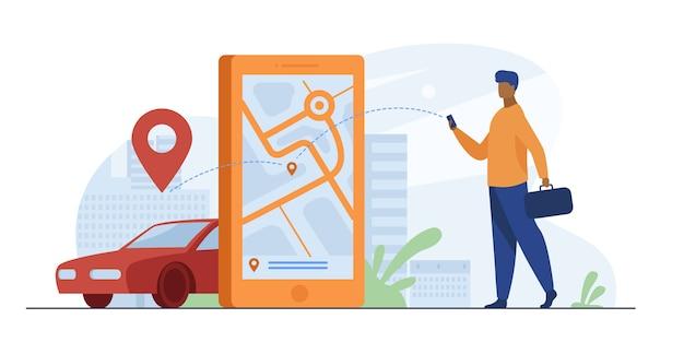 Cliente che utilizza app online per ordine di taxi o noleggio auto