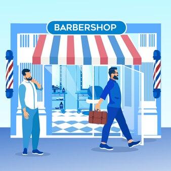 Cliente con acconciatura alla moda lasciando il barbiere