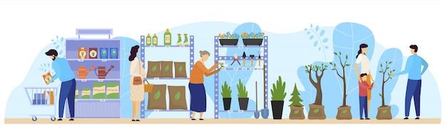 Cliente del negozio di fiori, la gente che sceglie le piante da appartamento e prodotti di giardinaggio in deposito floreale, illustrazione