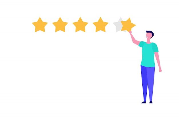 Cliente felice, stile dell'illustrazione di concetto di rassegna di feedback dell'utente.