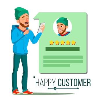 Cliente felice. testimonianze positive. felicità.