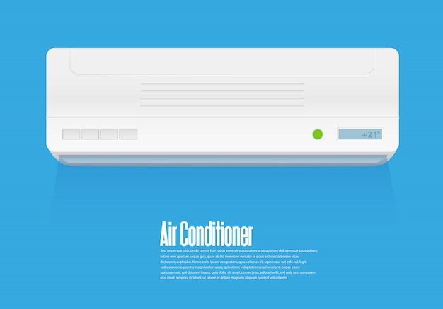 Climatizzatore split system. sistema di controllo del clima freddo e freddo. condizionamento realistico con telecomando. illustrazione di vettore