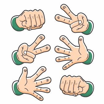 Clip di carta e forbice di roccia a mano