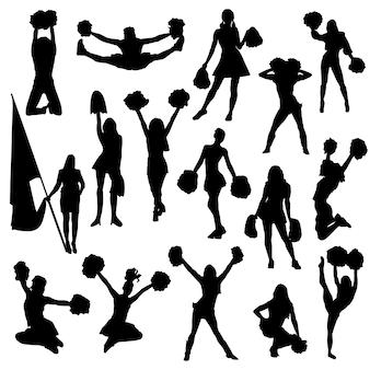 Clipart della siluetta di sport della ragazza pon pon della donna
