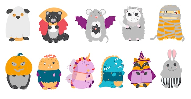 Clipart di halloween impostato con kawaii cartoon