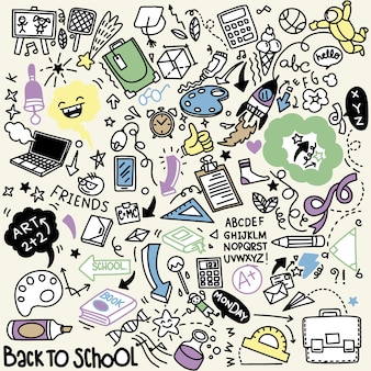 Clipart di scuola. icone e simboli della scuola di scarabocchio di vettore. oggetti di educazione stadying disegnati a mano