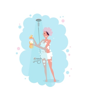 Clipart di una giovane donna felice in cuffia da doccia che fa una doccia in vapore blu.