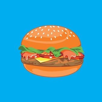 Clipart di vettore dell'illustrazione dell'hamburger del manzo