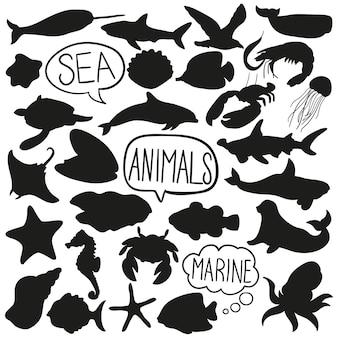 Clipart di vettore della siluetta di doodle degli animali dell'acqua di mare