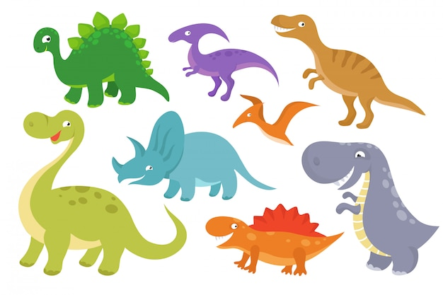 Clipart di vettore di dinosauri simpatico cartone animato. divertenti personaggi di dino per la raccolta dei piccoli