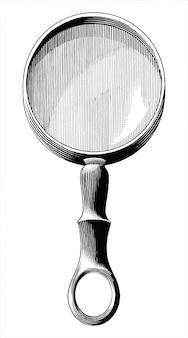 Clipart in bianco e nero dell'illustrazione dell'incisione del disegno della mano d'annata della lente isolato