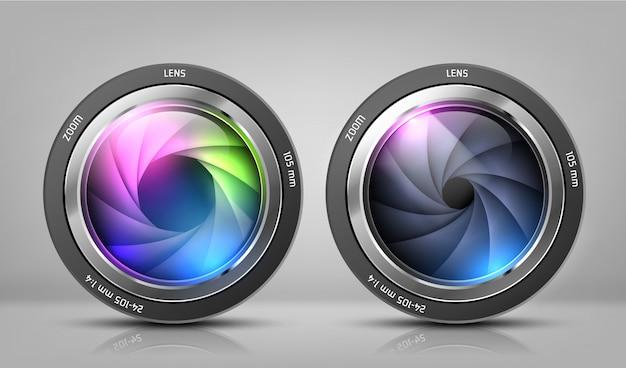 Clipart realistici con due obiettivi della fotocamera, obiettivi fotografici con zoom