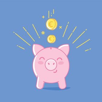 Clipart salvadanaio. maiale sveglio di risparmio e illustrazione piana lineare delle monete che cadono
