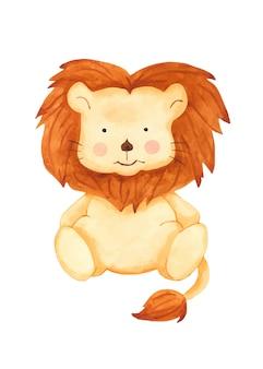 Clipart sveglio del giocattolo del leone del fumetto dell'acquerello