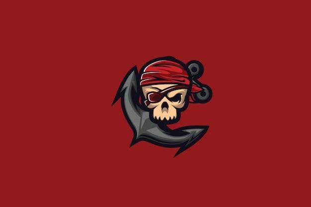 Clipart teschio e ancoraggio per logo mascotte esports