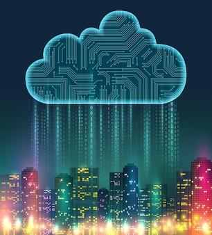 Cloud composizione realistica di archiviazione con elementi digitali e luci intense sulla città