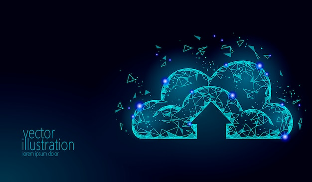 Cloud computing archiviazione online low poly